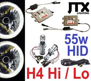 "7"" WHITE Halo Lights & H4 55w Hi/Lo HID Kit for Nisan GQ Patrol Ford Maverick"