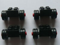 Lego 4 roues doubles noires / 4 black brick with dually tire ans wheel