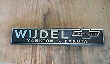 2 Vtg NOS Wudel Motors Chevrolet Yankton South Dakota SD Dealership Emblem Plate