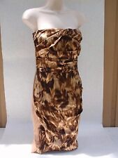 Elisabetta Franchi Strapless Silk Cocktail Dress Brown Abstract Leaf Print Sz 42