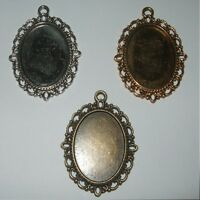 OVAL ANTIQUE SILVER BRONZE GOLD CAMEO CABOCHON PENDANT SETTING TRAY 25x18mm  C23