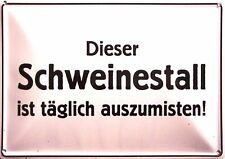 Schweinestall Funschild Fun Schild Blechpostkarte Blechschild 10,5 x 14,8 cm
