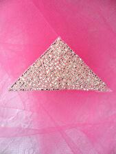 """FS865 ~~ Silver  Triangle  Beaded  Applique  2.5"""" ~~"""