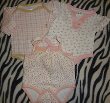 Baby Girls Size Newborn 0/3 Months Lot Of 3 Rompers One Pc Ruffles Pink White @