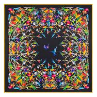 """Women's Black Birds Print Twill Silk Head Shawl Fashion Big Square Scarf 51""""*51"""""""