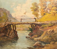 Antique impressionist oil painting mountain river landscape wooden bridge signed