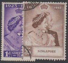 SINGAPORE KGVI 1948 Silver Wedding Set Scott 21-22 SG31-32 Used cv £51