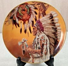 """Native American Chief Wolf Plume collector's plate 8"""" Franklin Mint"""