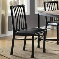 Set of 2 Modern Upholstered Metal Side Chair Armless Kitchen Dining Seat Black
