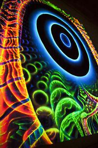 TRIPPY TAPESTRY Blacklight uv active backdrop psychedelic art room hippie decor