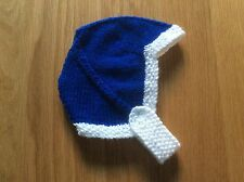 HAND KNITTED BABY HAT - BIRTH TO 3 MONTH BLUE & WHITE