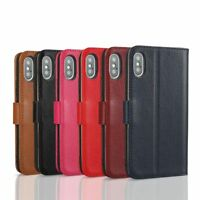 6 Colors - Luxury Real Genuine Leather Flip Cover Stand Wallet Case For iPhone