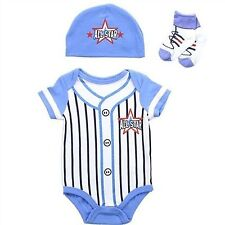 Buster Brown All Star Pinstripe White Baseball With Blue Cap And Socks