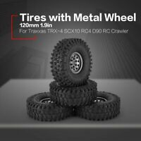 4pcs 1.9in Rubber Tires Metal Wheel Rim for Traxxas D90 TRX-4 SCX10 RC4 RC Car
