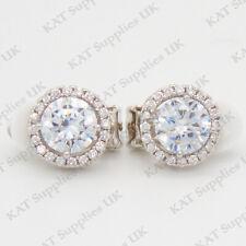 CLIP ON Earrings Crystal Silver Rhinestone Fake Studs Non Pierced Ear Round #55