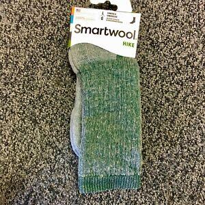 NEW Smartwool Mens Hike Merino Wool Crew Socks - Green Heather - Large