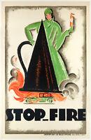 Affiche Originale Art Déco - Charles Loupot - Stop-Fire - Automobile - 1925