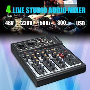 4 Kanal USB Mixer Live Studio Audio Mischpult Konsole 48V Phantomspeisung