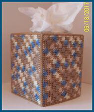 TAN BLUE WHITE NURSERY HANDMADE PLASTIC CANVAS TISSUE BOX COVER TOPPER