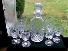 More details for round unused  crystal decanter & 2 sets x 3 matching crystal glasses