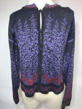 Dale Casual Collection Size L Button Cardigan Black Purple Norway Thanksgiving