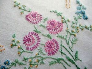 """Vintage Hand embroidered tablecloth - Pretty Flowers - 33/34""""sq."""