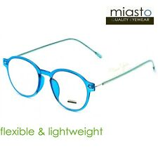 NWT$39.99 MIASTO RETRO ROUND PREPPY READER READING GLASSES+1.50 FLEXIBLE (BLUE)