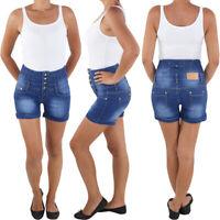 Damen Corsagen Hot Pants Jeans Hochschnitt Shorts Capri Kurze Hose Hotpants Blau