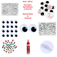Googly Eyes - Black White or  Colour - Self Adhesive or Glue on - Small or Large