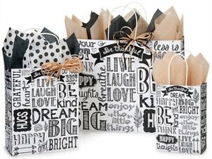 Set of 3 Chalkboard paper gift bags, with tissue paper, ribbon, gift tags
