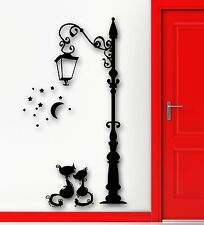 Wall Stickers Vinyl Decal Lantern Cats Animal Vintage Street Decor (ig1028)