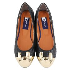 Le Bunny Bleu Size 8 Black Pointy Toe Ballet Flats Slip On Suede Flat Shoes