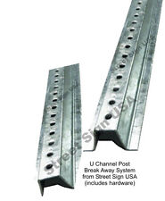 8' GALVANIZED U CHANNEL SIGN POST BREAK AWAY SYSTEM HEAVY DUTY FOR STREET SIGNS