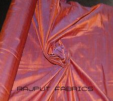 100% Natural Silk Dupioni Fabric Orange Violet Iridesent BY THE YARD *SUPER SALE