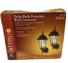 Portfolio, Twin Pack Exterior Wall Lanterns, Rust Finish, Beveled Glass