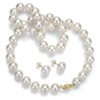 Pearl Necklace and Earrings Set 14K Yellow Gold 11-12mm White Freshwater Pearl