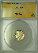 1957 Silver Roosevelt Dime 10c ANACS MS 67 Toned