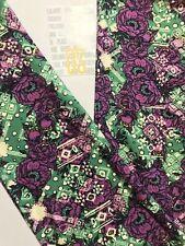 LuLaRoe Floral OS Leggings ~Purple Green Off White~ Rose Paisley Gorgeous