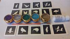 BIRD a tema MINI PICCOLA GLITTER TATTOO Set Incl. Stencil + glitter + colla GUFO