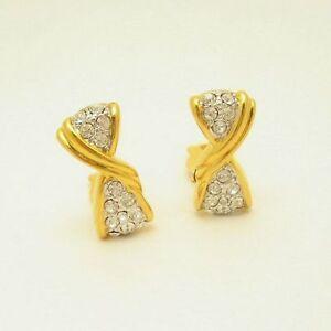 Vertical Bow Rhinestone Vintage Clip Earrings Very Classy Elegant