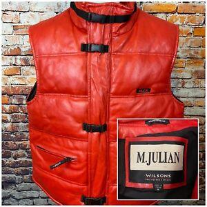 M Julian Wilson Leather Experts MJX Red Puffer Hip Hop Vest Medium