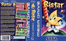 Ristar locale Mega Drive Pal GENESIS RICAMBIO box-art CASE inserisci Copertura intarsio