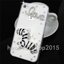 NEW Rhinestone Diamond Bling Jewelled Crystal Soft Gel Rubber Phone Case Cover D