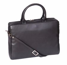 Business Womens Real Leather Briefcase Work Office Laptop Shoulder Black Bag NEW