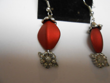 Vintage Earrings Red Bead With Silver Color Accents Pierced Drop/Dangle Jewelry