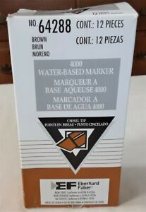 Box 12 Eberhard Markers Water-Based Brown #64288 Chisel Tip