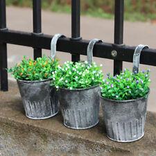 Retro Wall Hanging Flower Pot Garden Fence Balcony Plants Holder Bucket Decor Us