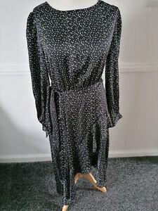 Lipsy Polka Dot Side Dipped Hem Midi Dress, With Ruffle Detail, Size 16,