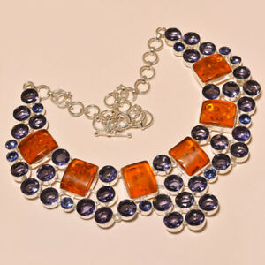 """Baltic Amber & Amethyst Gemstone 925 Sterling Silver Necklace 17.99"""" (11267)"""