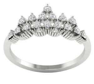 Crown Wedding Ring SI1 G 0.40 Ct Round Diamond 14K White Gold Prong Set 8.10MM